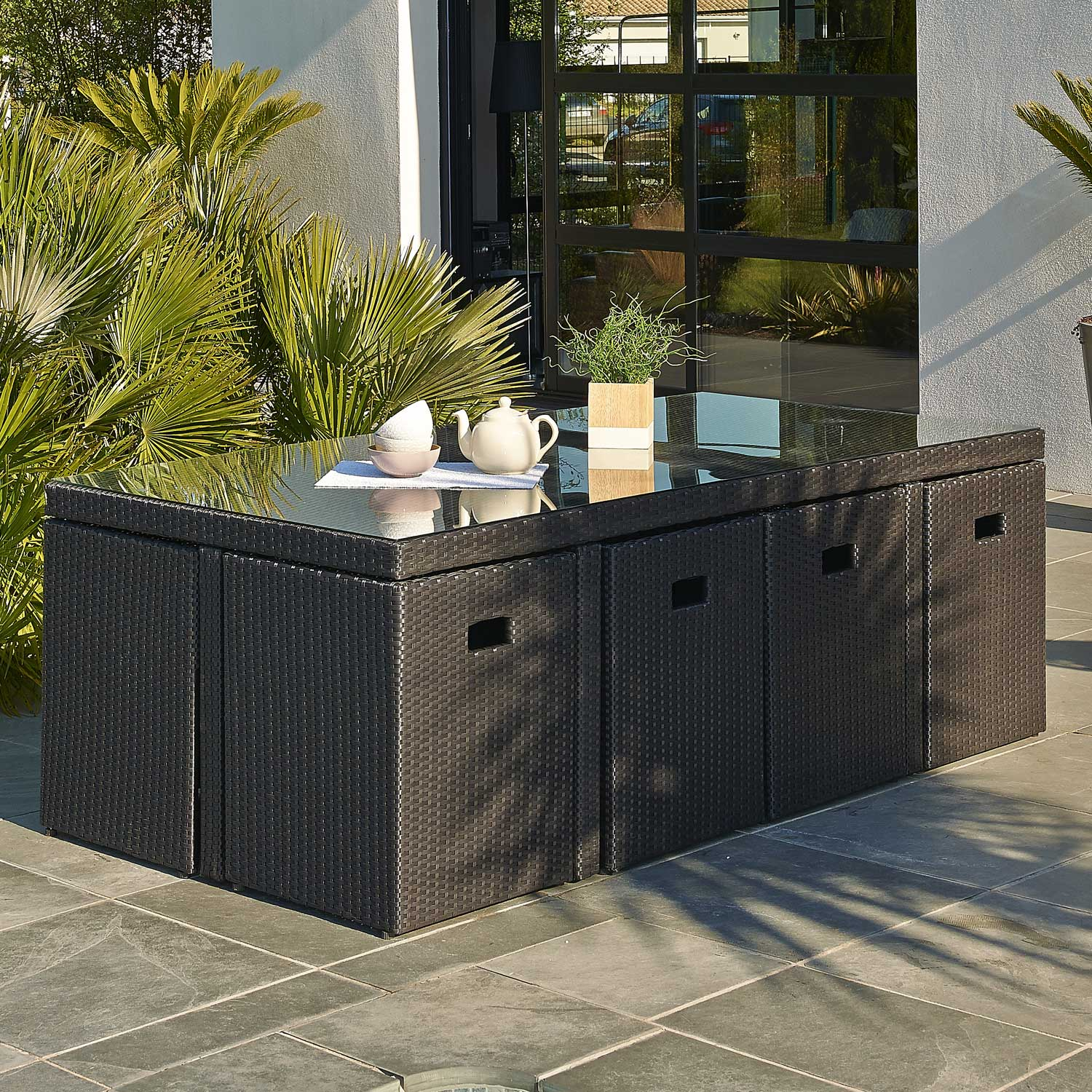 Salon de jardin encastrable r sine tress e noir 8 for Salon de jardin en resine tressee gris anthracite