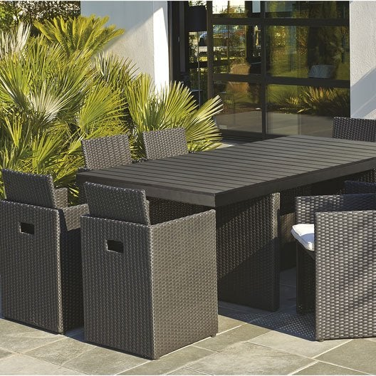 Salon de jardin encastrable r sine tress e noir 1 table 8 fauteuils leroy - Salon de jardin en resine noir ...
