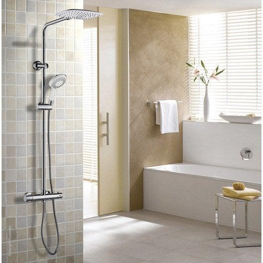 colonne de douche avec robinetterie rousseau milk leroy merlin. Black Bedroom Furniture Sets. Home Design Ideas