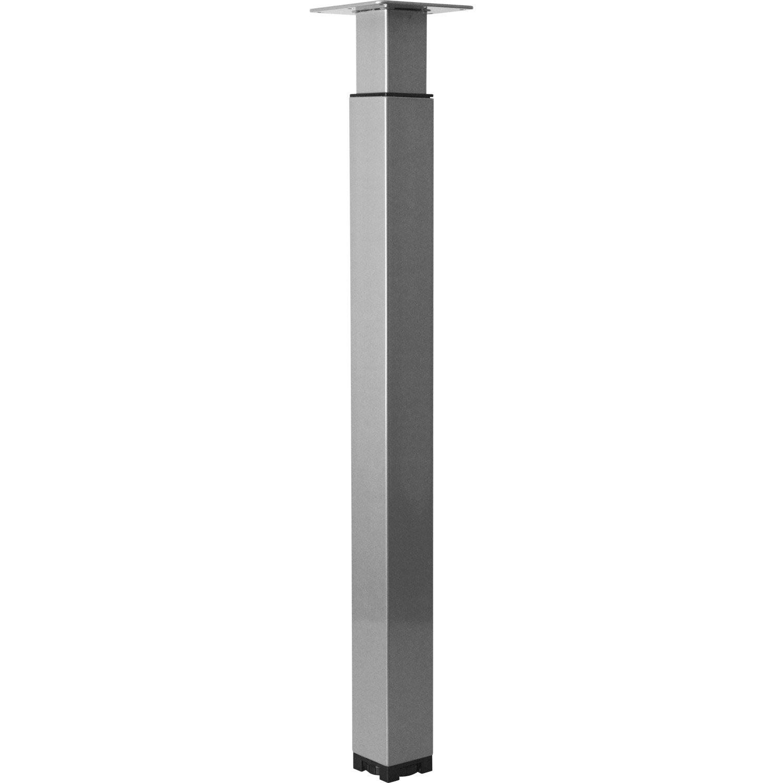 pied de table carr r glable acier poxy gris 70 cm leroy merlin. Black Bedroom Furniture Sets. Home Design Ideas