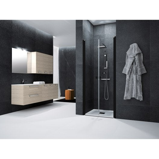 porte de douche battante 80 cm transparent neo leroy merlin. Black Bedroom Furniture Sets. Home Design Ideas
