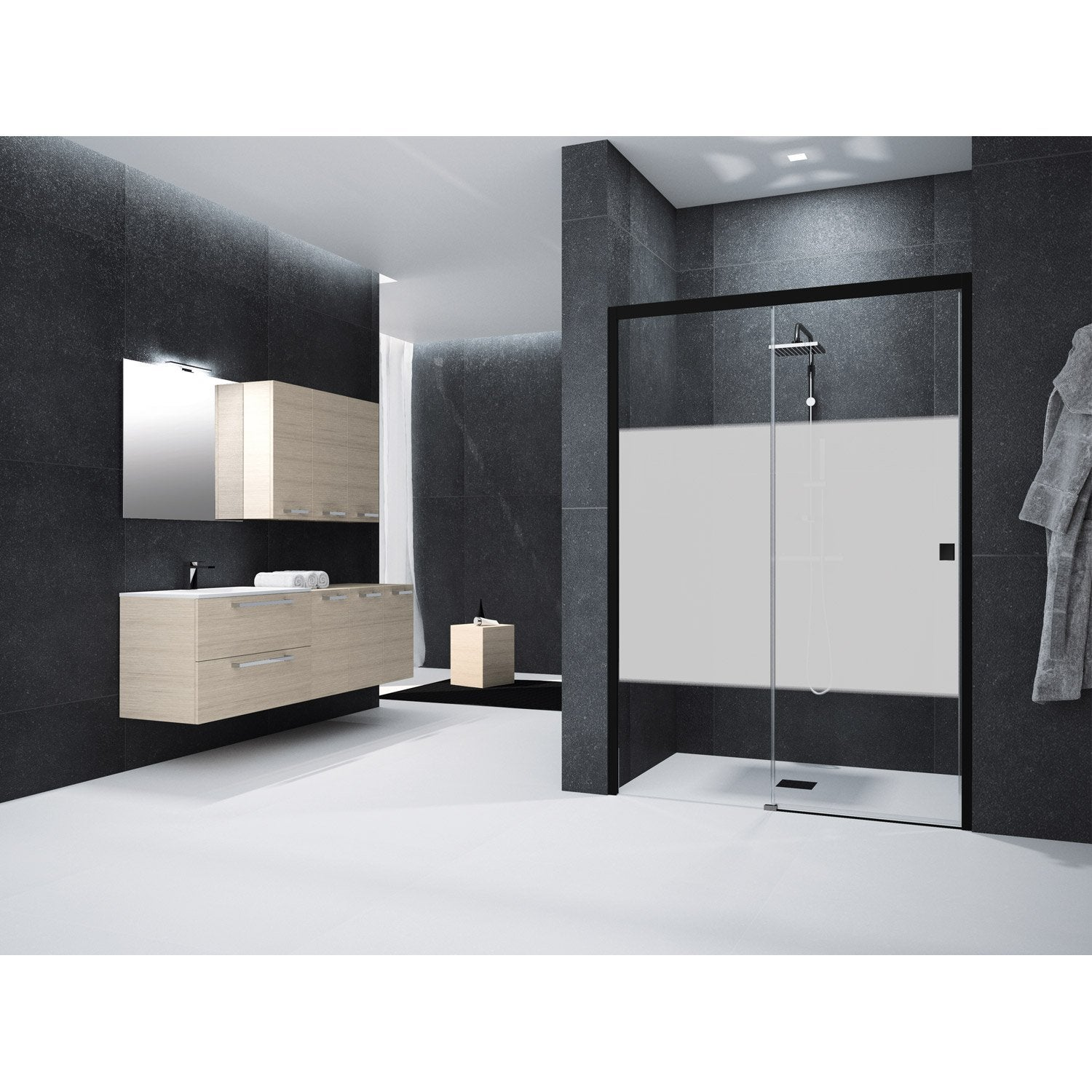 porte de douche coulissante 140 cm s rigraphi neo leroy merlin. Black Bedroom Furniture Sets. Home Design Ideas