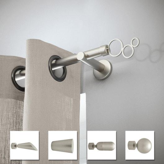 lot de 2 supports sans per age tringle rideau design 20 mm nickel mat ib leroy merlin. Black Bedroom Furniture Sets. Home Design Ideas