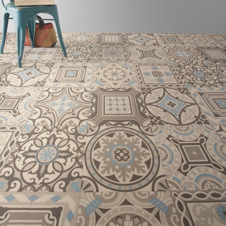 Un sol vinyle imitant les carreaux de ciment | Leroy Merlin