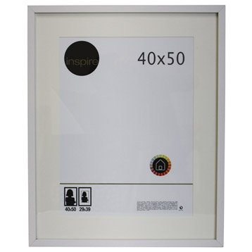 Cadre bois inspire lario 40 x 50 cm blanc blanc n 0 for Miroir 40x50 sans cadre