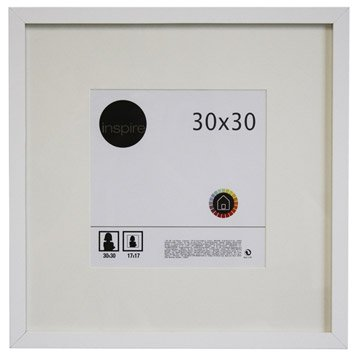 Cadre Lario, 30 x 30 cm, blanc-blanc n°0