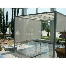 Pergola autoportante acier et aluminium gris métal 9 m²