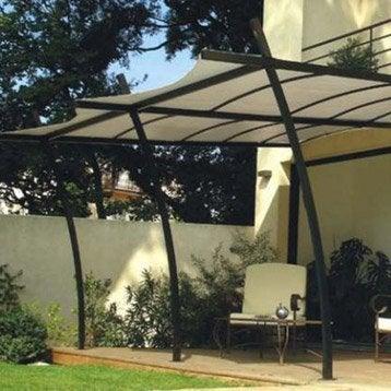 Extension de tonnelle adossée sydney, acier gris foncé, 7 m²