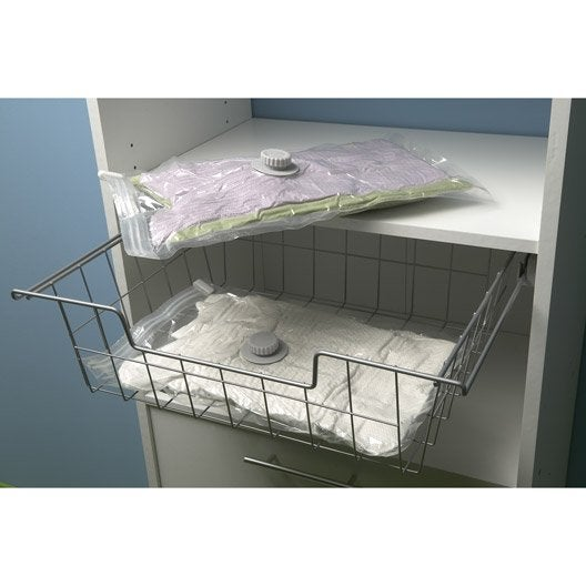 lot de 2 sacs de rangement sous vide translucide x l. Black Bedroom Furniture Sets. Home Design Ideas