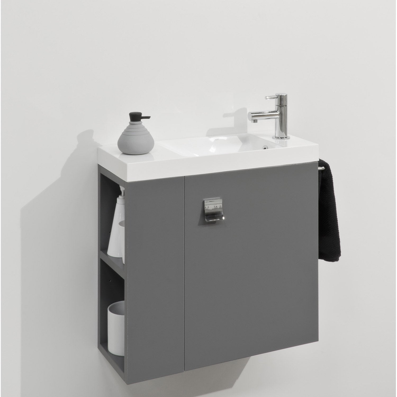 Meuble lave-mains avec miroir, Gris-Gris n°1, l.55 x p.22 x h.53.5 ...