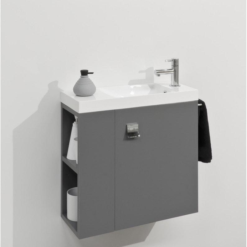 Meuble lave-mains avec miroir, Gris-Gris n°1, l.55 x p.22 x h.53.5 cm Slim 38932d71bc86