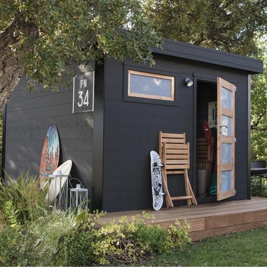 Abri de jardin bois Elite, 8.18 m² Ep.28 mm | Leroy Merlin