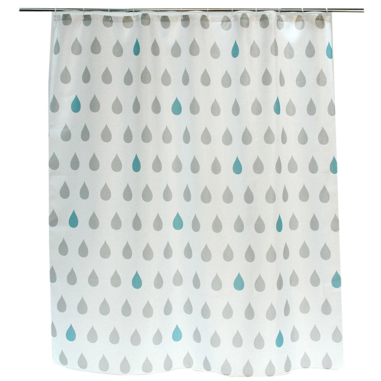 Rideau de douche en textile gris galet n°3 l.180 x H.200 cm, Drop ...