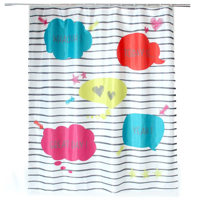 Rideau de douche en textile bleu atoll n°4 l.180 x H.200 cm, Comics SENSEA