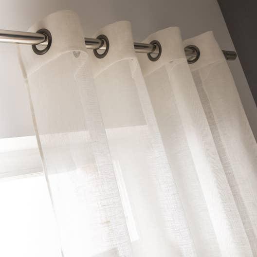 voilage tamisant de lin blanc x cm leroy merlin. Black Bedroom Furniture Sets. Home Design Ideas