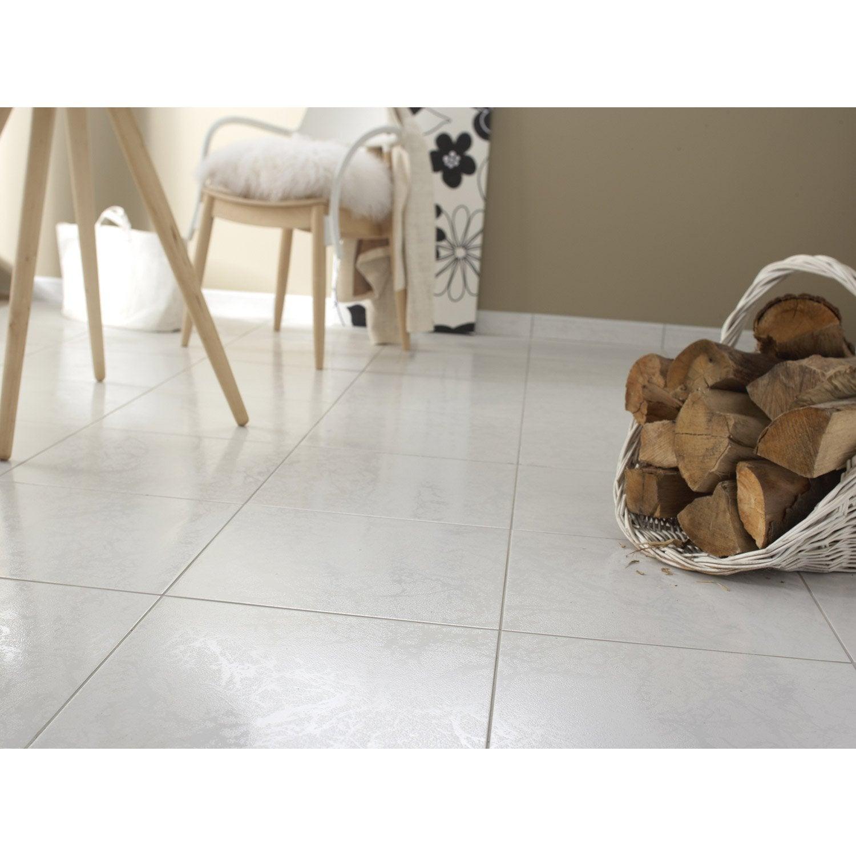 Carrelage sol et mur blanc effet marbre Polaire l.44.7 x L.44.7 cm ...