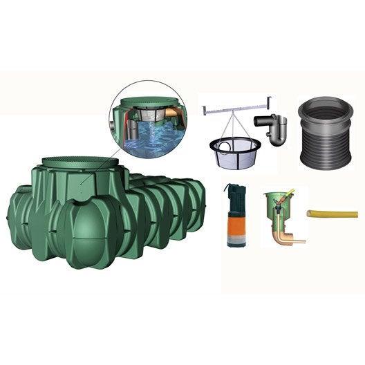 cuve accessoires r cup ration eau de pluie extraplate li lo garantia 1500 l leroy merlin. Black Bedroom Furniture Sets. Home Design Ideas
