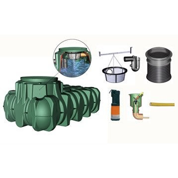 Cuve + accessoires récupération eau de pluie extraplate li-lo GARANTIA, 1500 l