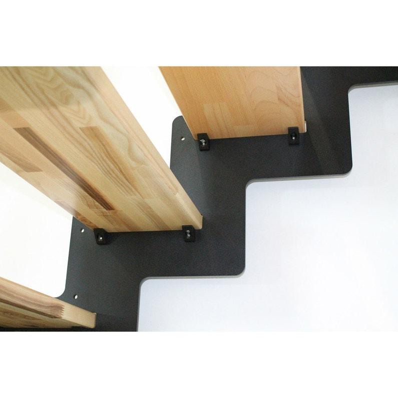 escalier quart tournant structure acier marche bois. Black Bedroom Furniture Sets. Home Design Ideas