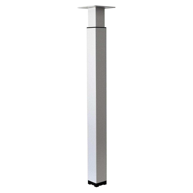 Pied De Table Carre.Pied De Table Carre Reglable Acier Epoxy Blanc 70 Cm