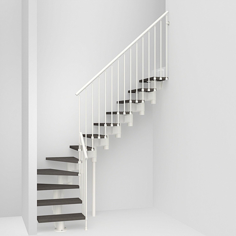 Escalier 1/4 tournant Long structure acier marche bois PIXIMA