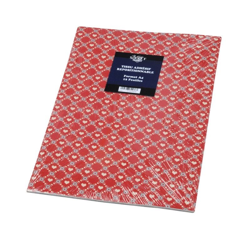 Sticker Adhésif Tissu Romeo Rouge 12 Pages A4 21 Cm X 297 Cm