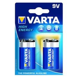 Lot de 2 piles alcaline, 9 V hign energy, VARTA