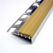 Nez de marche anti-dérapant en Alu/PVC, beige, 1.25 m x 10 mm