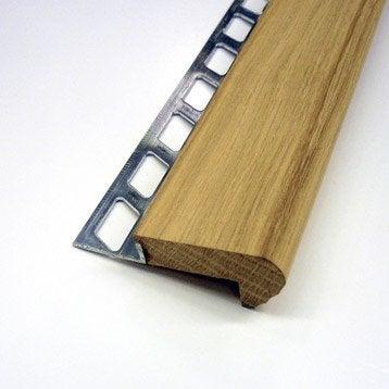 Nez de marche décoratif en bois, décor chêne, 1 m x 10 mm
