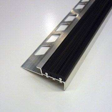 Nez de marche anti-dérapant en Alu/PVC, Noir, 1.25 m x 12.5 mm