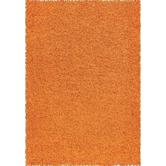 tapis orange shaggy pop, l.160 x l.230 cm   leroy merlin