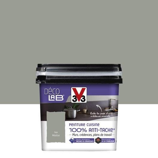 Peinture d colab 100 anti t ches v33 gris inox for Etabli cuisine inox