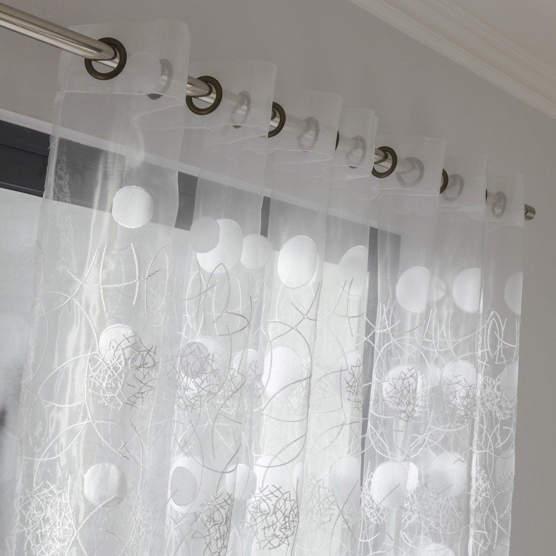 voilage tamisant grande largeur luna blanc x cm leroy merlin. Black Bedroom Furniture Sets. Home Design Ideas