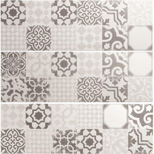 Fa ence mur mix blanc gris d cor tadelak x cm leroy merlin - Texture carrelage blanc ...