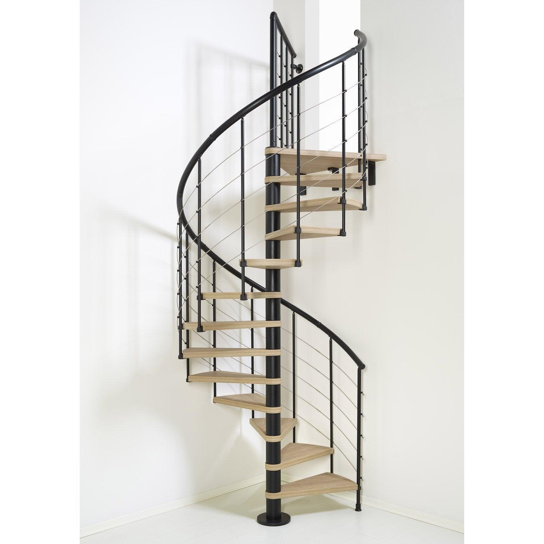 Escalier colima on rond ringtube structure acier marche bois leroy merlin - Escalier colimacon bois ...