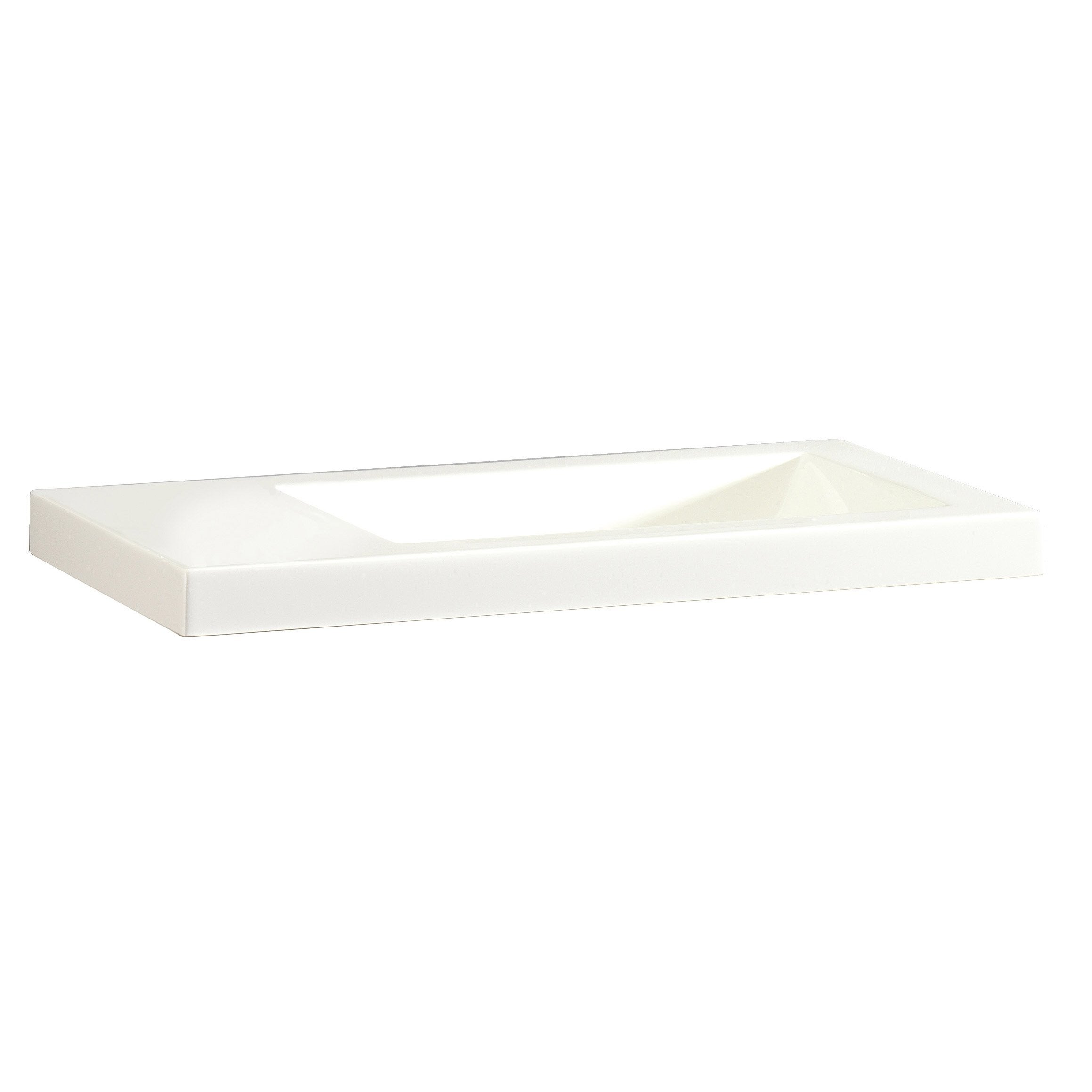 Lave-mains résine rectangle blanc l.43 x P.23 cm, Nerea