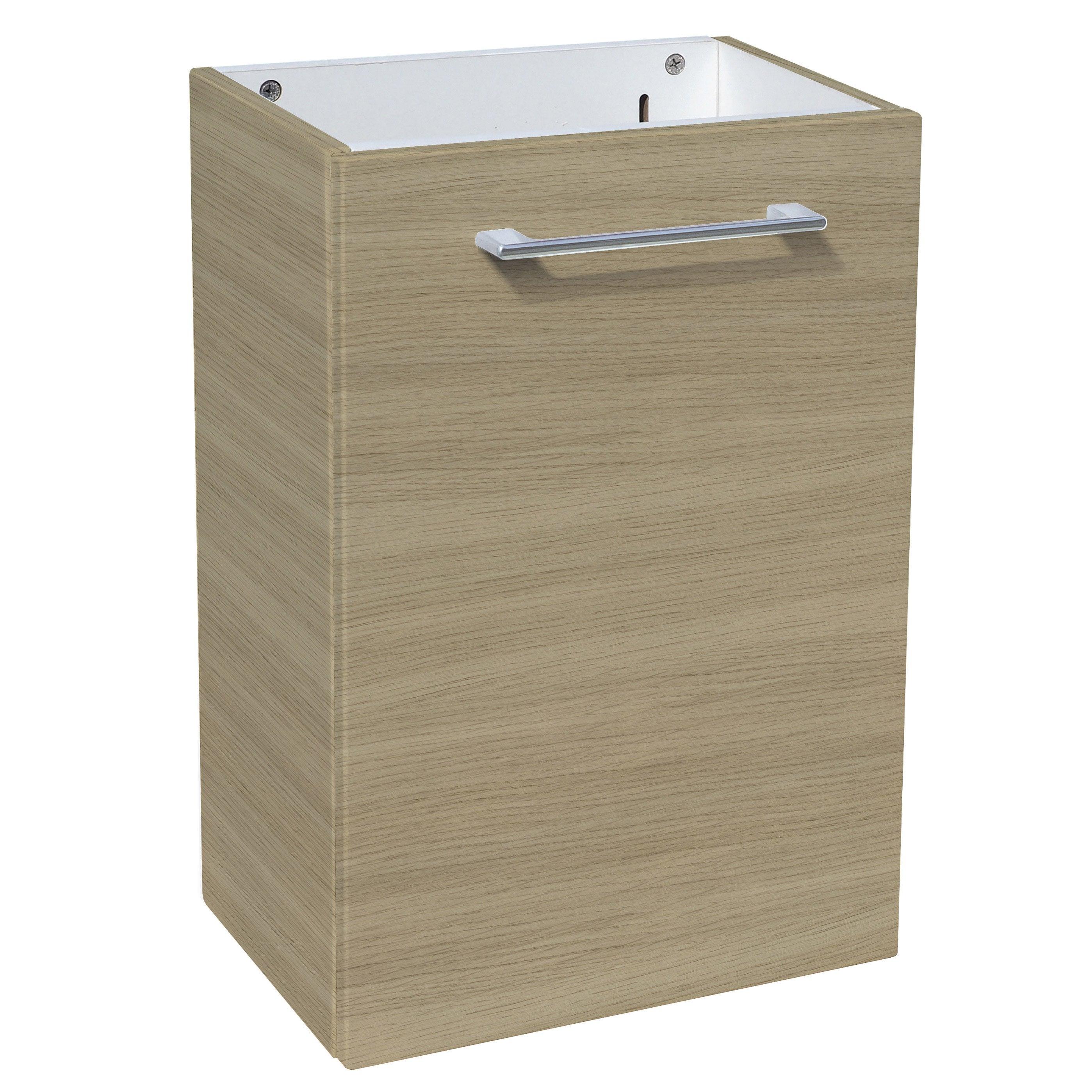Meuble lave-mains, Remix l.38.5 x H.58 x P.24 cm, effet chêne naturel, Remix