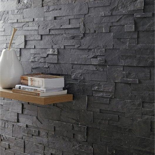 plaquette de parement el gance en pierre naturelle noir leroy merlin. Black Bedroom Furniture Sets. Home Design Ideas