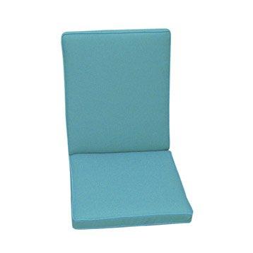 Coussin d'assise+dossier de chaise ou de fauteuil NATERIAL Laura, uni bleu atoll