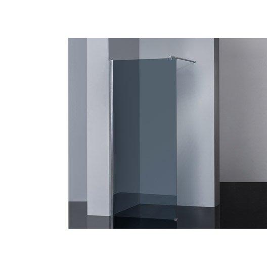 Paroi de douche l 39 italienne cm verre fum 6 mm - Paroi de verre pour douche italienne ...