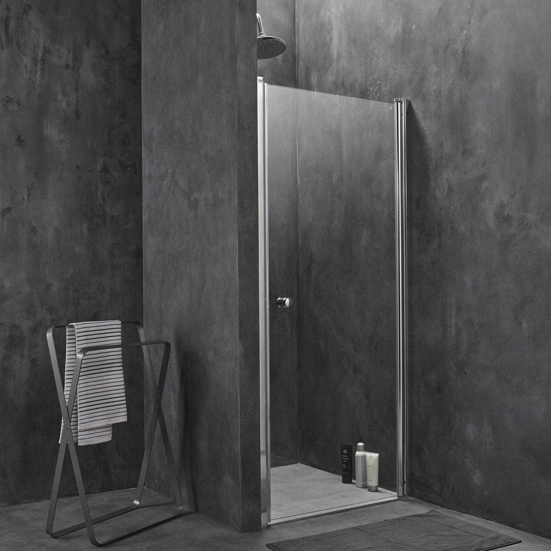 Paroi Douche 180 Hauteur porte de douche pivotante 80 cm, transparent, flexa | leroy merlin