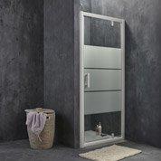 Porte de douche pivotante SENSEA Optima 2, verre de sécurité sérigraphié