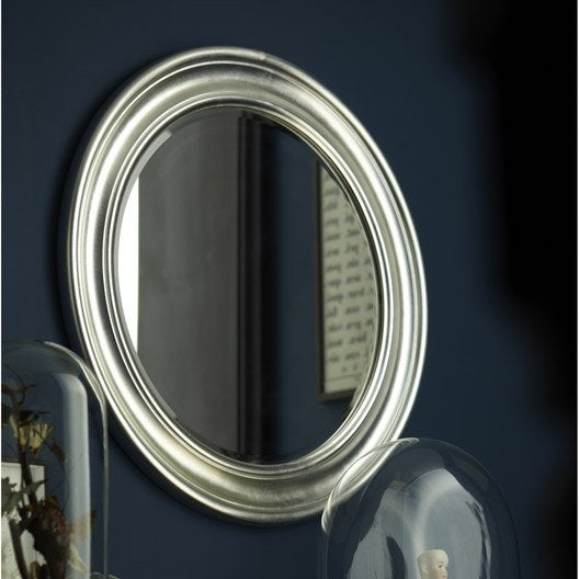 Miroir daventry rond argent diam tre 72 cm leroy merlin for Miroir au metre