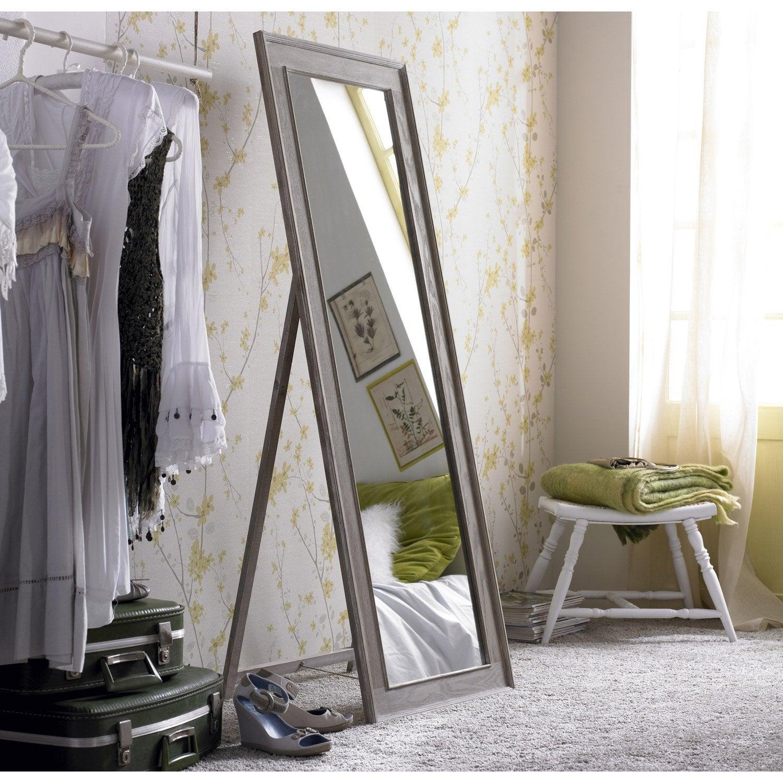 Miroir lanwood blanchi beige x cm leroy merlin - Miroir 140 cm ...