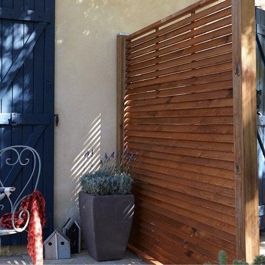 Panneau bois persienn vera cm x cm marron for Panneau de jardin bois