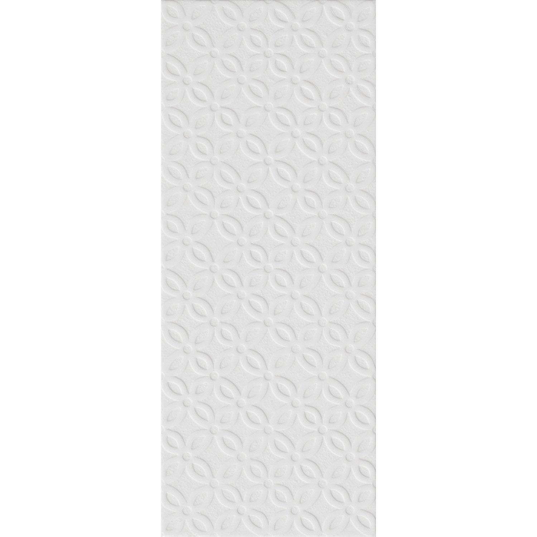 Décor mur uni blanc-blanc n°0 mat l.20 x L.50.2 cm, Loft pétale