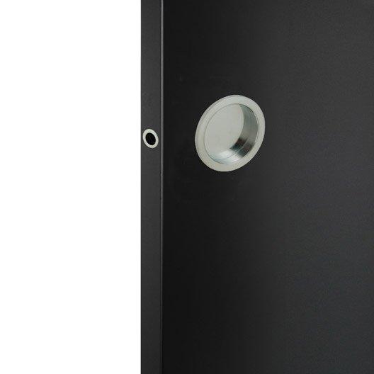 Kit de poign es porte coulissante ronde zamak nickel - Poignee de porte coulissante ...