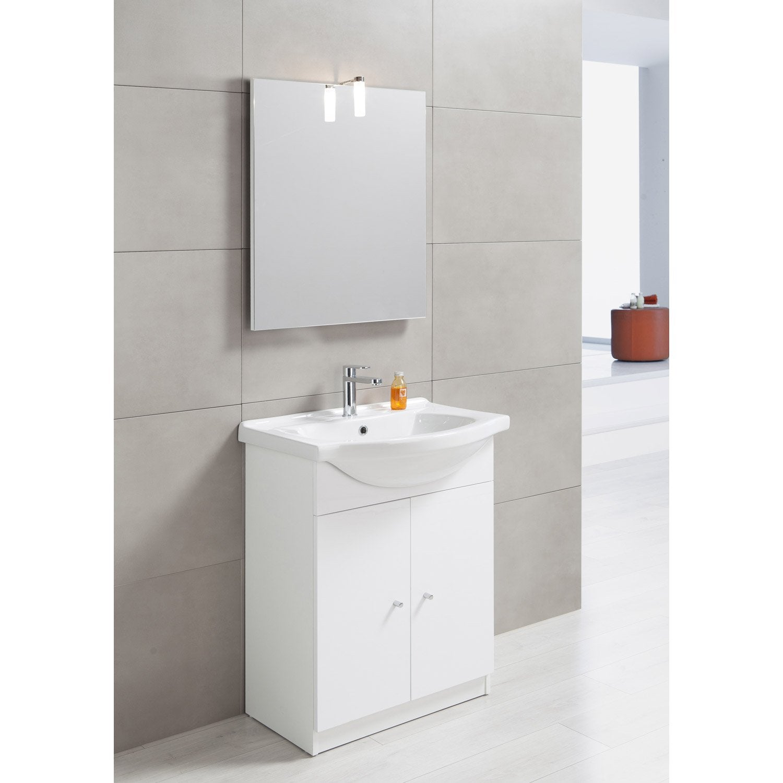 meuble vasque 65 cm blanc, bianca | leroy merlin - Meuble Evier Salle De Bain