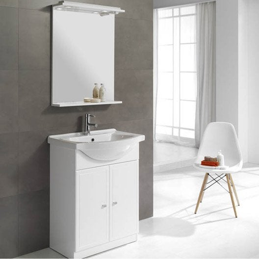 Meuble vasque x x cm blanc galice leroy for Ensemble lavabo meuble leroy merlin