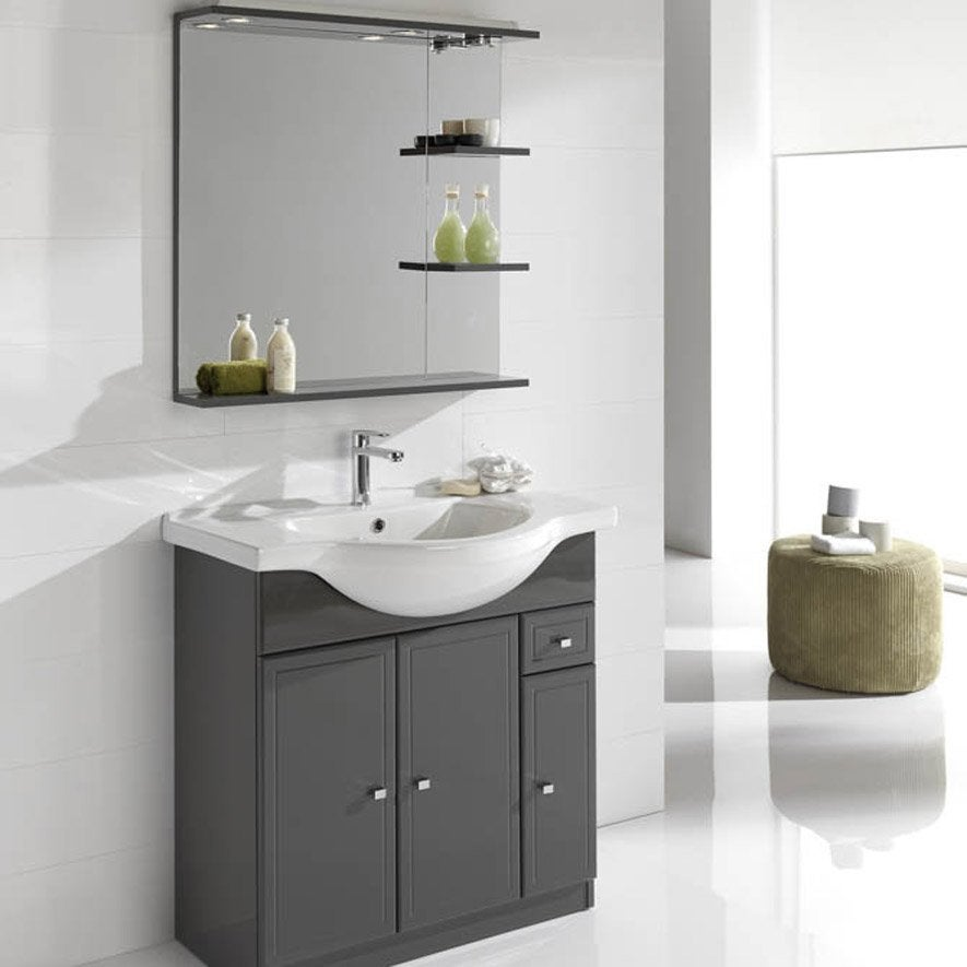 Meuble vasque 85 cm gris galice leroy merlin for Meuble salle de bain vasque a poser leroy merlin